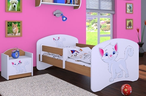 Happy Babies Detská posteľ HAPPY/ 12 Mačička 180 x 90 cm Farba: Buk / Biela, Prevedenie: L05 / 90 x 180 cm / bez úložného priestoru