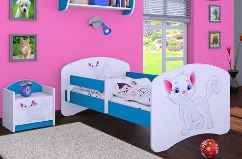 Happy Babies Detská posteľ HAPPY/ 12 Mačička 180 x 90 cm Farba: Modrá / biela, Prevedenie: L05 / 90 x 180 cm / bez úložného priestoru
