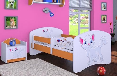 Happy Babies Detská posteľ HAPPY/ 12 Mačička 180 x 90 cm Farba: Oranžová / Biela, Prevedenie: L05 / 90 x 180 cm / bez úložného priestoru