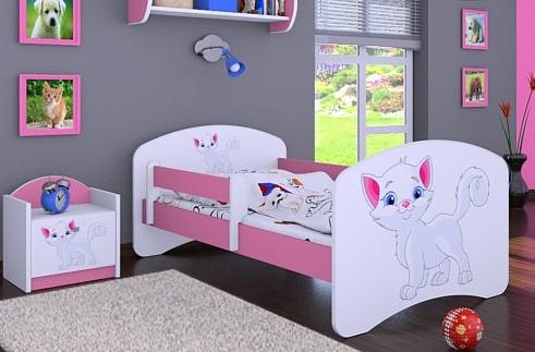 Happy Babies Detská posteľ HAPPY/ 12 Mačička 180 x 90 cm Farba: Ružová / Biela, Prevedenie: L05 / 90 x 180 cm / bez úložného priestoru