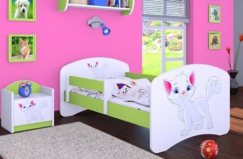 Happy Babies Detská posteľ HAPPY/ 12 Mačička 180 x 90 cm Farba: Zelená / Biela, Prevedenie: L05 / 90 x 180 cm / bez úložného priestoru