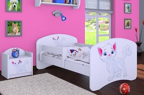 Happy Babies Detská posteľ HAPPY/ 12 Mačička 180 x 90 cm Farba: Biela / biela, Prevedenie: L05 / 90 x 180 cm / bez úložného priestoru