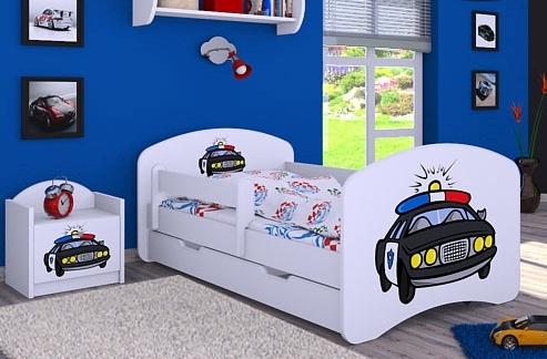 Happy Babies Detská posteľ HAPPY/ 54 Policajné auto 180 x 90 cm Farba: Biela / biela, Prevedenie: L06 / 90 x 180 cm / S úložným priestorom
