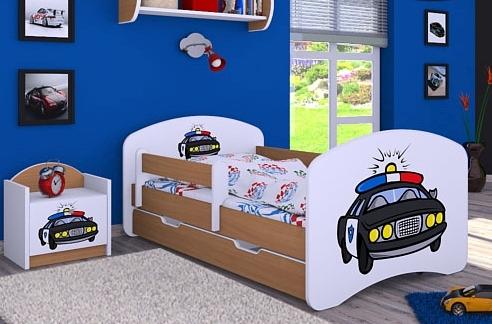 Happy Babies Detská posteľ HAPPY/ 54 Policajné auto 180 x 90 cm Farba: Buk / Biela, Prevedenie: L06 / 90 x 180 cm / S úložným priestorom