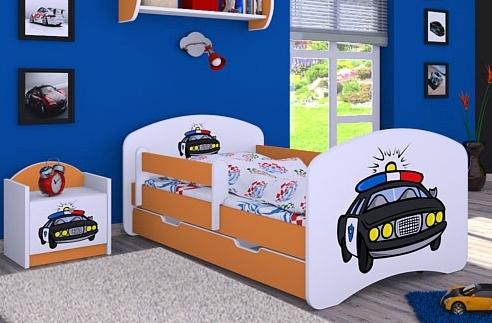 Happy Babies Detská posteľ HAPPY/ 54 Policajné auto 180 x 90 cm Farba: Oranžová / Biela, Prevedenie: L06 / 90 x 180 cm / S úložným priestorom