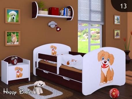 Happy Babies Detská posteľ HAPPY/ 13 Psík hnedý 180 x 90 cm Farba: Gaštan Wenge / Biela, Prevedenie: L06 / 90 x 180 cm / S úložným priestorom