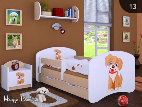 Happy Babies Detská posteľ HAPPY/ 13 Psík hnedý 180 x 90 cm Farba: Hruška / Biela, Prevedenie: L06 / 90 x 180 cm / S úložným priestorom