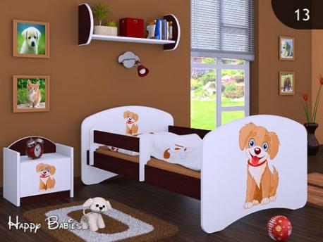 Happy Babies Detská posteľ HAPPY/ 13 Psík hnedý 180 x 90 cm Farba: Gaštan Wenge / Biela, Prevedenie: L05 / 90 x 180 cm / bez úložného priestoru