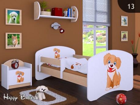 Happy Babies Detská posteľ HAPPY/ 13 Psík hnedý 180 x 90 cm Farba: Hruška / Biela, Prevedenie: L05 / 90 x 180 cm / bez úložného priestoru