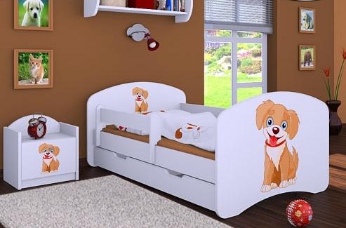 Happy Babies Detská posteľ HAPPY/ 13 Psík hnedý 180 x 90 cm Farba: Biela / biela, Prevedenie: L06 / 90 x 180 cm / S úložným priestorom