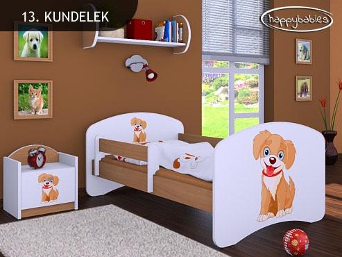 Happy Babies Detská posteľ HAPPY/ 13 Psík hnedý 180 x 90 cm Farba: Buk / Biela, Prevedenie: L05 / 90 x 180 cm / bez úložného priestoru