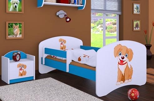 Happy Babies Detská posteľ HAPPY/ 13 Psík hnedý 180 x 90 cm Farba: Modrá / biela, Prevedenie: L05 / 90 x 180 cm / bez úložného priestoru