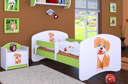 Happy Babies Detská posteľ HAPPY/ 13 Psík hnedý 180 x 90 cm Farba: Zelená / Biela, Prevedenie: L05 / 90 x 180 cm / bez úložného priestoru