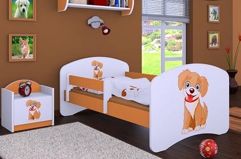Happy Babies Detská posteľ HAPPY/ 13 Psík hnedý 180 x 90 cm Farba: Oranžová / Biela, Prevedenie: L05 / 90 x 180 cm / bez úložného priestoru