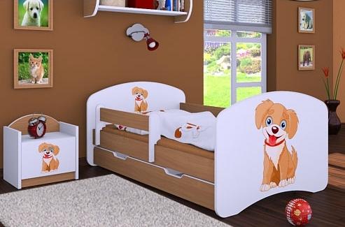 Happy Babies Detská posteľ HAPPY/ 13 Psík hnedý 180 x 90 cm Farba: Buk / Biela, Prevedenie: L06 / 90 x 180 cm / S úložným priestorom