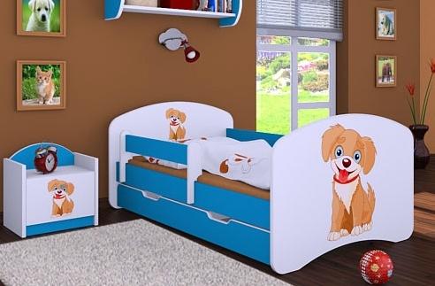 Happy Babies Detská posteľ HAPPY/ 13 Psík hnedý 180 x 90 cm Farba: Modrá / biela, Prevedenie: L06 / 90 x 180 cm / S úložným priestorom