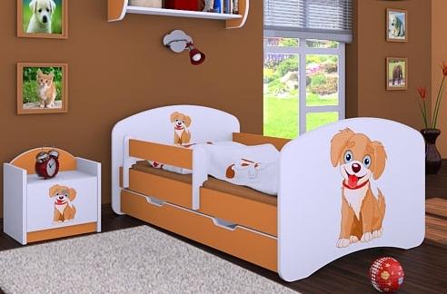 Happy Babies Detská posteľ HAPPY/ 13 Psík hnedý 180 x 90 cm Farba: Oranžová / Biela, Prevedenie: L06 / 90 x 180 cm / S úložným priestorom