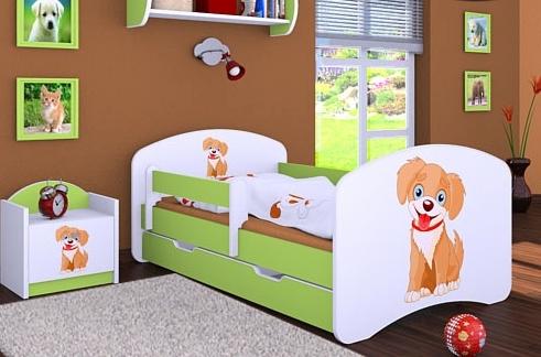 Happy Babies Detská posteľ HAPPY/ 13 Psík hnedý 180 x 90 cm Farba: Zelená / Biela, Prevedenie: L06 / 90 x 180 cm / S úložným priestorom