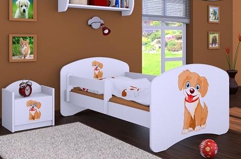 Happy Babies Detská posteľ HAPPY/ 13 Psík hnedý 180 x 90 cm Farba: Biela / biela, Prevedenie: L05 / 90 x 180 cm / bez úložného priestoru