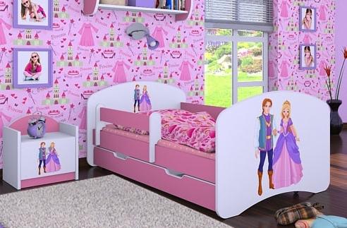 Happy Babies Detská posteľ HAPPY/ 37 Princ a princezná 180 x 90 cm Farba: Ružová / Biela, Prevedenie: L06 / 90 x 180 cm / S úložným priestorom