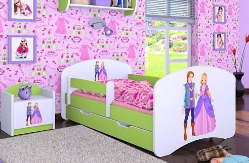 Happy Babies Detská posteľ HAPPY/ 37 Princ a princezná 180 x 90 cm Farba: Zelená / Biela, Prevedenie: L06 / 90 x 180 cm / S úložným priestorom