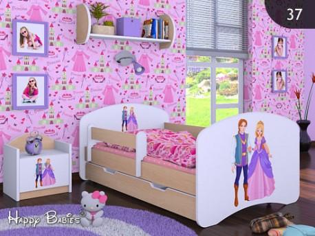 Happy Babies Detská posteľ HAPPY/ 37 Princ a princezná 180 x 90 cm Farba: Hruška / Biela, Prevedenie: L06 / 90 x 180 cm / S úložným priestorom