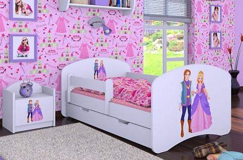Happy Babies Detská posteľ HAPPY/ 37 Princ a princezná 180 x 90 cm Farba: Biela / biela, Prevedenie: L06 / 90 x 180 cm / S úložným priestorom