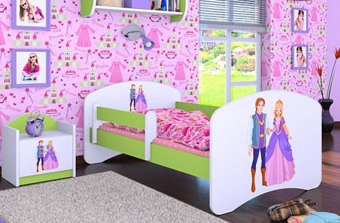 Happy Babies Detská posteľ HAPPY/ 37 Princ a princezná 180 x 90 cm Farba: Zelená / Biela, Prevedenie: L05 / 90 x 180 cm / bez úložného priestoru