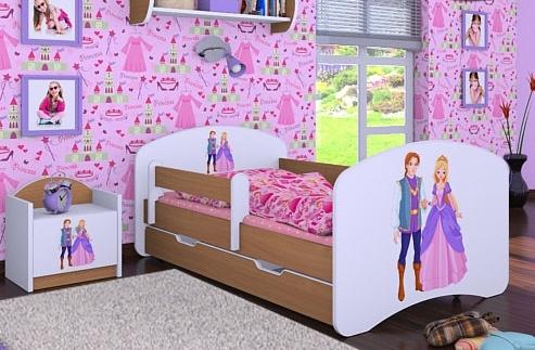 Happy Babies Detská posteľ HAPPY/ 37 Princ a princezná 180 x 90 cm Farba: Buk / Biela, Prevedenie: L06 / 90 x 180 cm / S úložným priestorom