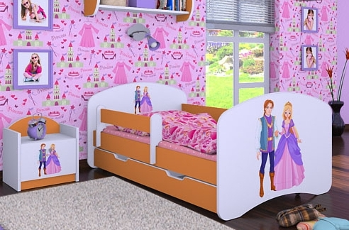 Happy Babies Detská posteľ HAPPY/ 37 Princ a princezná 180 x 90 cm Farba: Oranžová / Biela, Prevedenie: L06 / 90 x 180 cm / S úložným priestorom