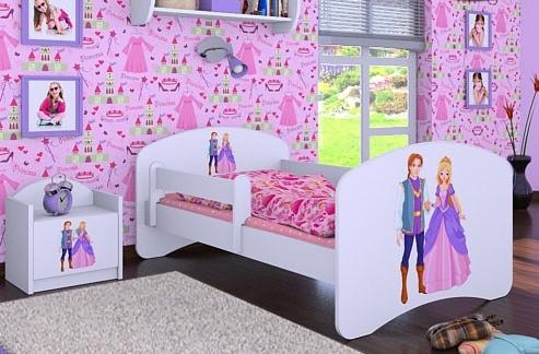 Happy Babies Detská posteľ HAPPY/ 37 Princ a princezná 180 x 90 cm Farba: Biela / biela, Prevedenie: L05 / 90 x 180 cm / bez úložného priestoru