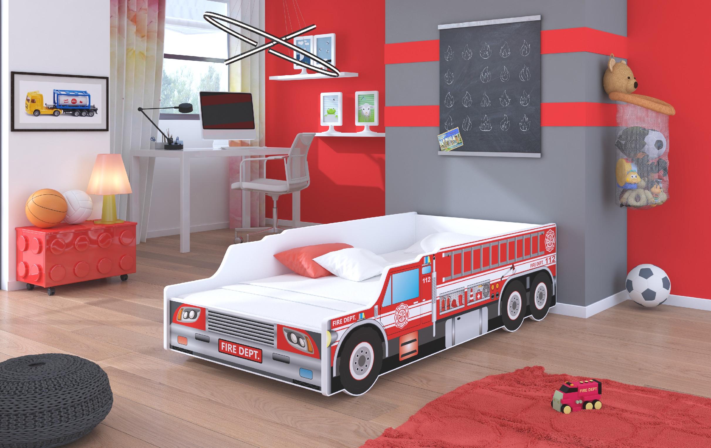 ArtAdr Detská auto posteľ FIRE TRUCK Prevedenie: 70 x 140 cm