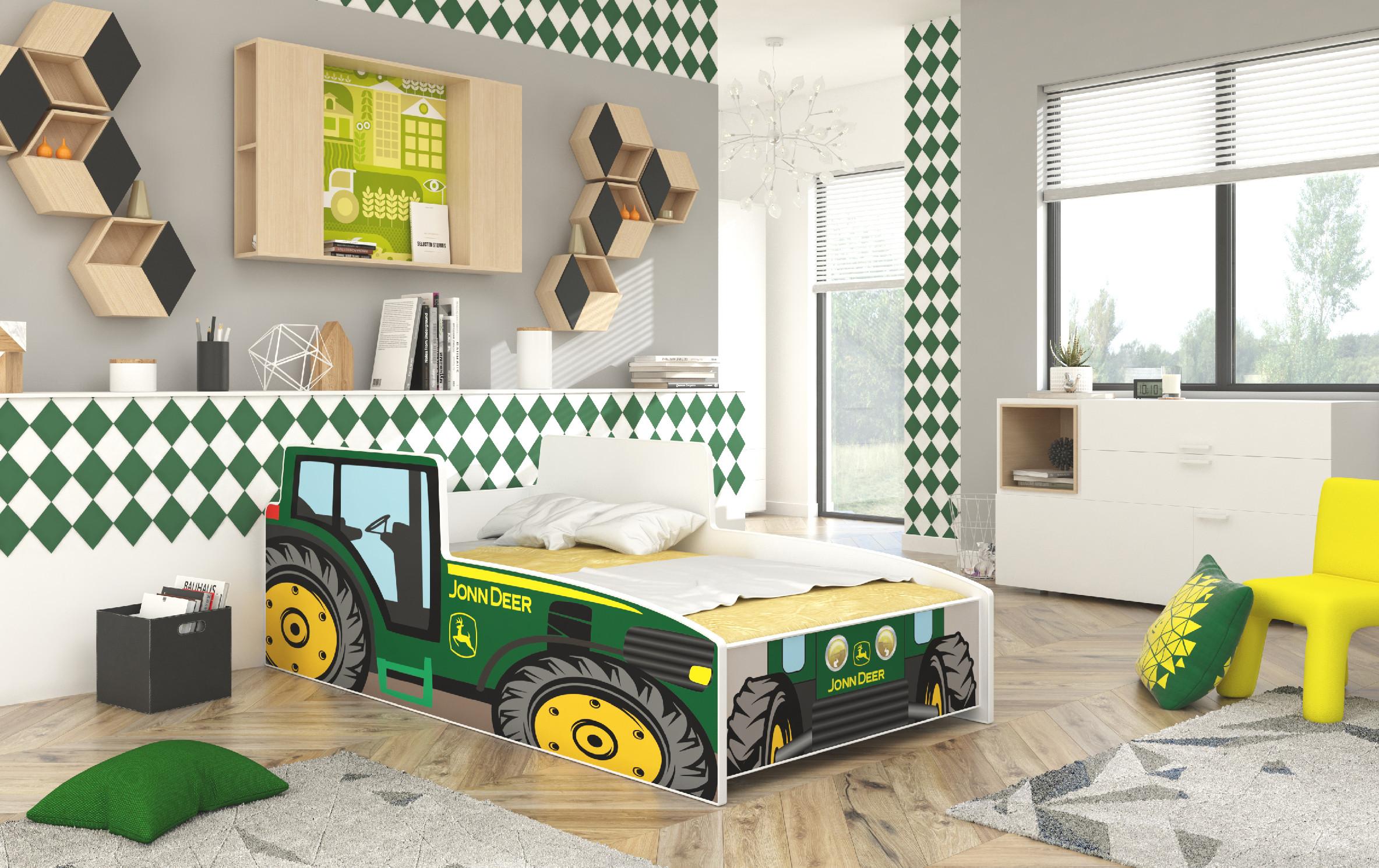ArtAdr Detská auto posteľ TRACTOR Farba: Žltá, Prevedenie: 70 x 140 cm