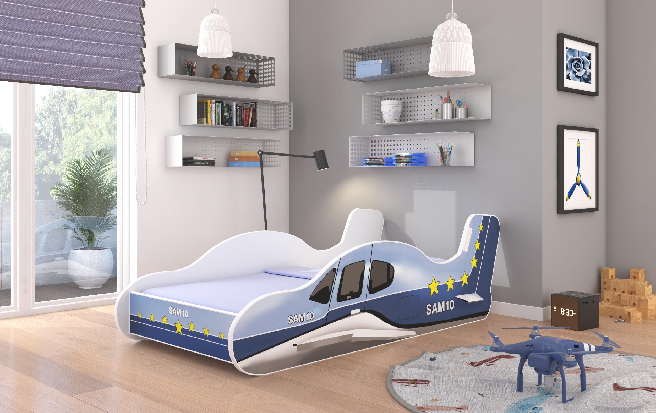 ArtAdr Detská posteľ PLANE Farba: Modrá, Prevedenie: 70 x 140 cm