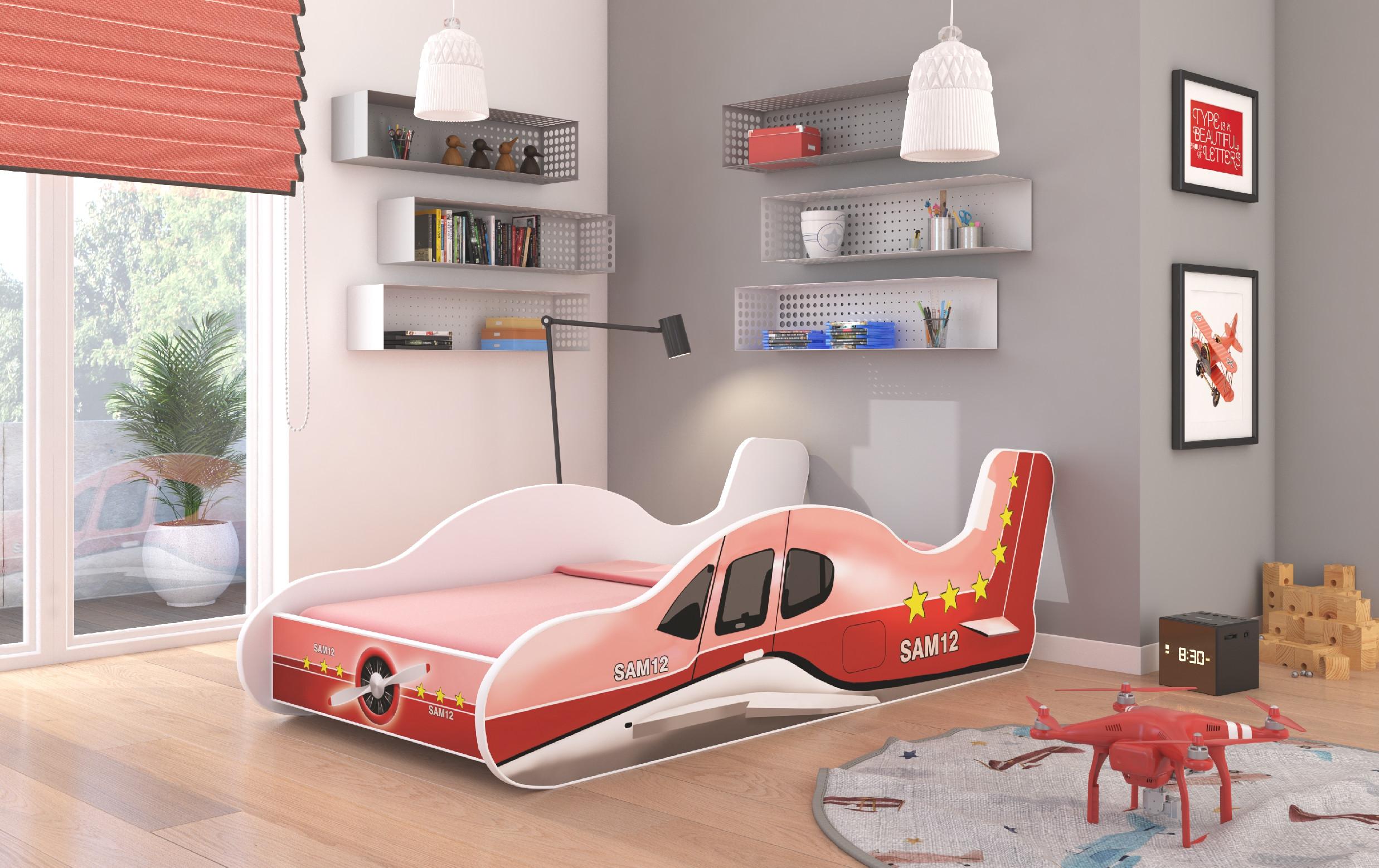 ArtAdr Detská posteľ PLANE Farba: Červená, Prevedenie: 70 x 140 cm