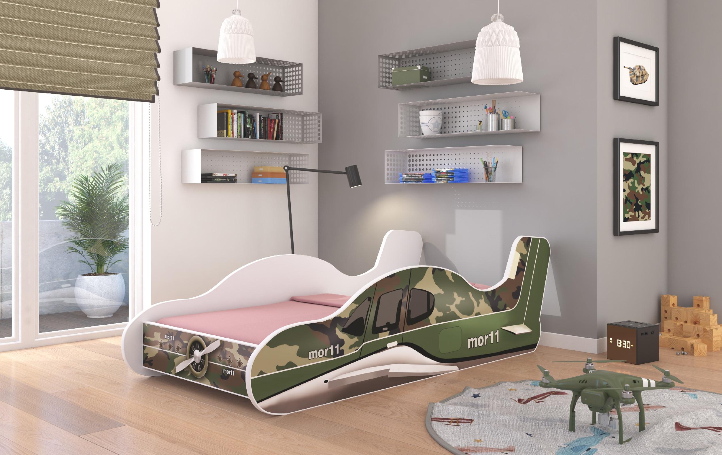 ArtAdr Detská posteľ PLANE Farba: Zelená, Prevedenie: 70 x 140 cm
