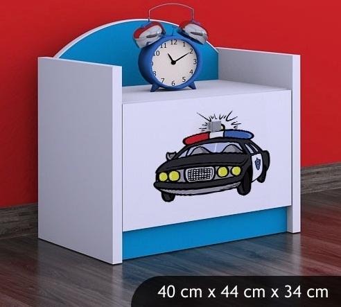 Happy Babies Nočný stolík HAPPY/ 54 Policajné auto SZN02 Farba: Modrá, Prevedenie: Jedna zásuvka