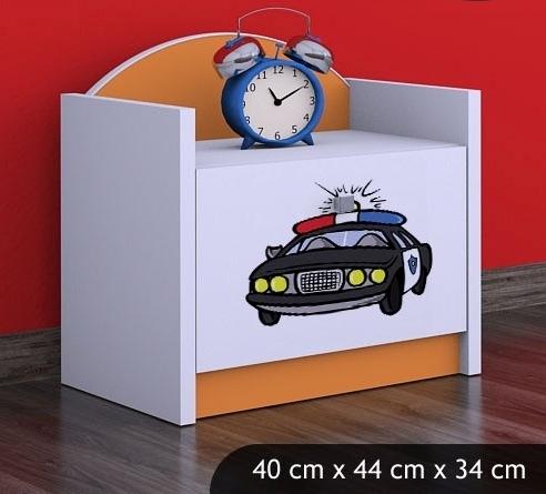 Happy Babies Nočný stolík HAPPY/ 54 Policajné auto SZN02 Farba: Oranžová, Prevedenie: Jedna zásuvka