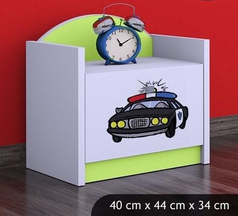 Happy Babies Nočný stolík HAPPY/ 54 Policajné auto SZN02 Farba: Zelená, Prevedenie: Jedna zásuvka