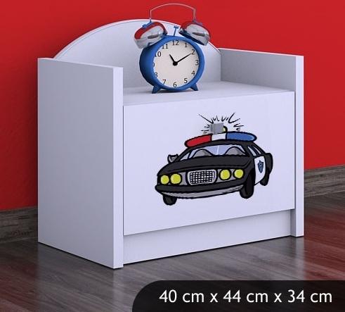 Happy Babies Nočný stolík HAPPY/ 54 Policajné auto SZN02 Farba: Biela, Prevedenie: Jedna zásuvka