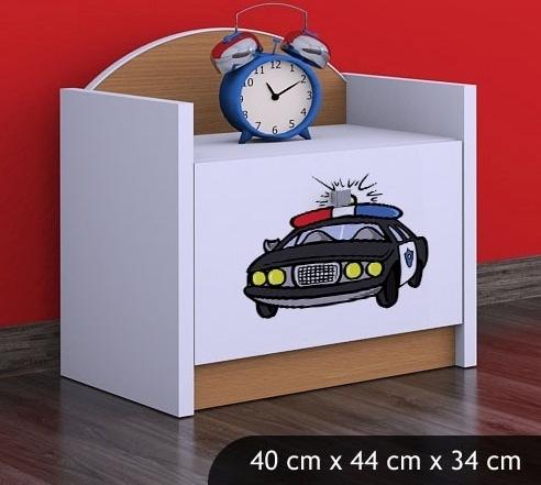 Happy Babies Nočný stolík HAPPY/ 54 Policajné auto SZN02 Farba: Buk, Prevedenie: Jedna zásuvka