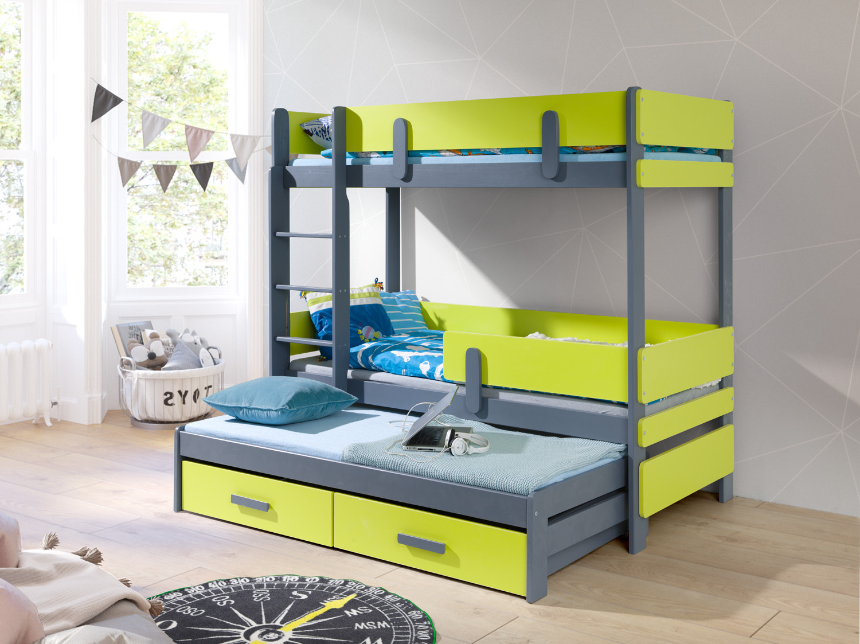 ArtBed Detská poschodová posteľ Ettore III Farba: akryl sivá / biela - 1x skladom