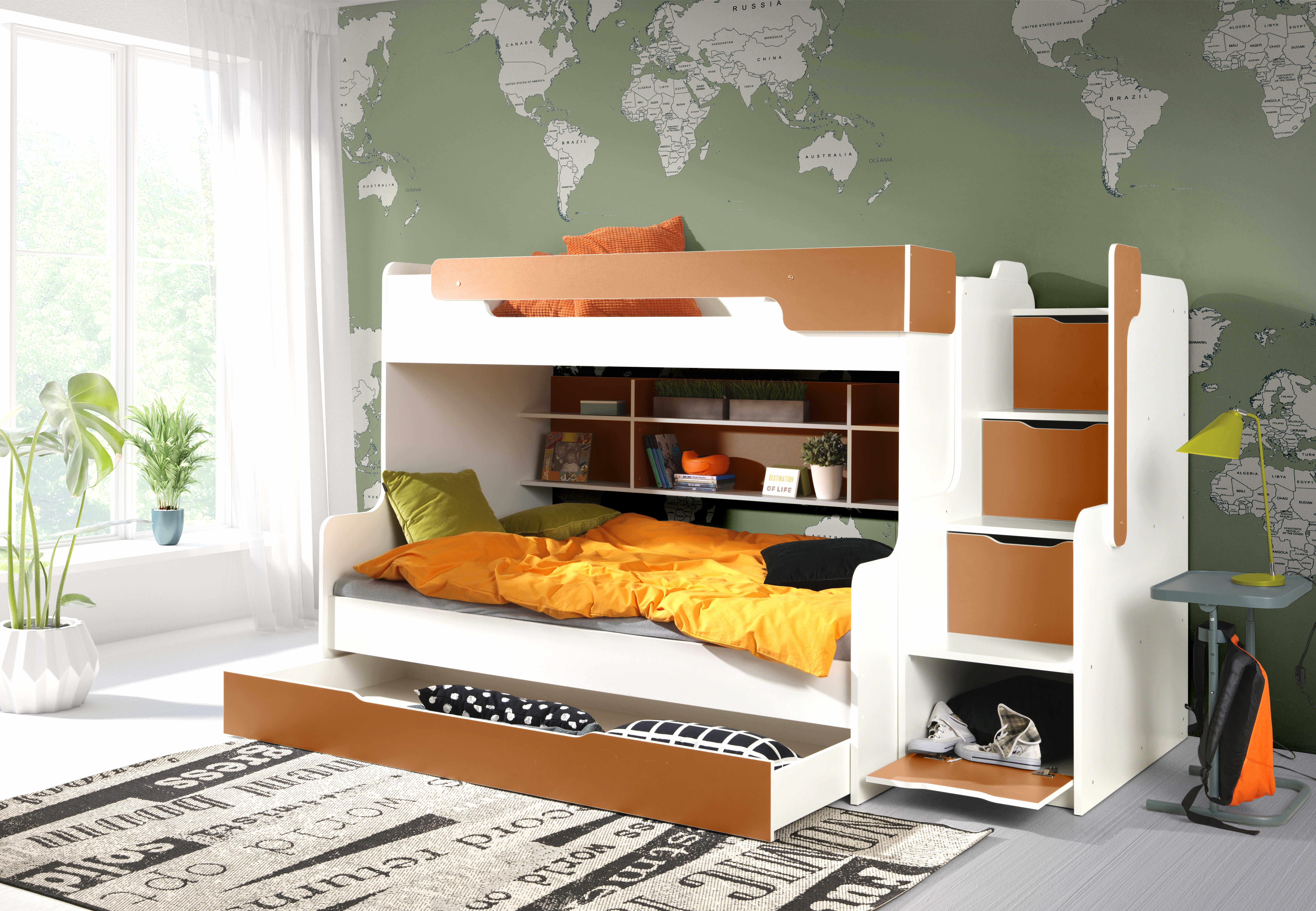 ArtBed Detská poschodová posteľ Harry Farba: biela/zelená