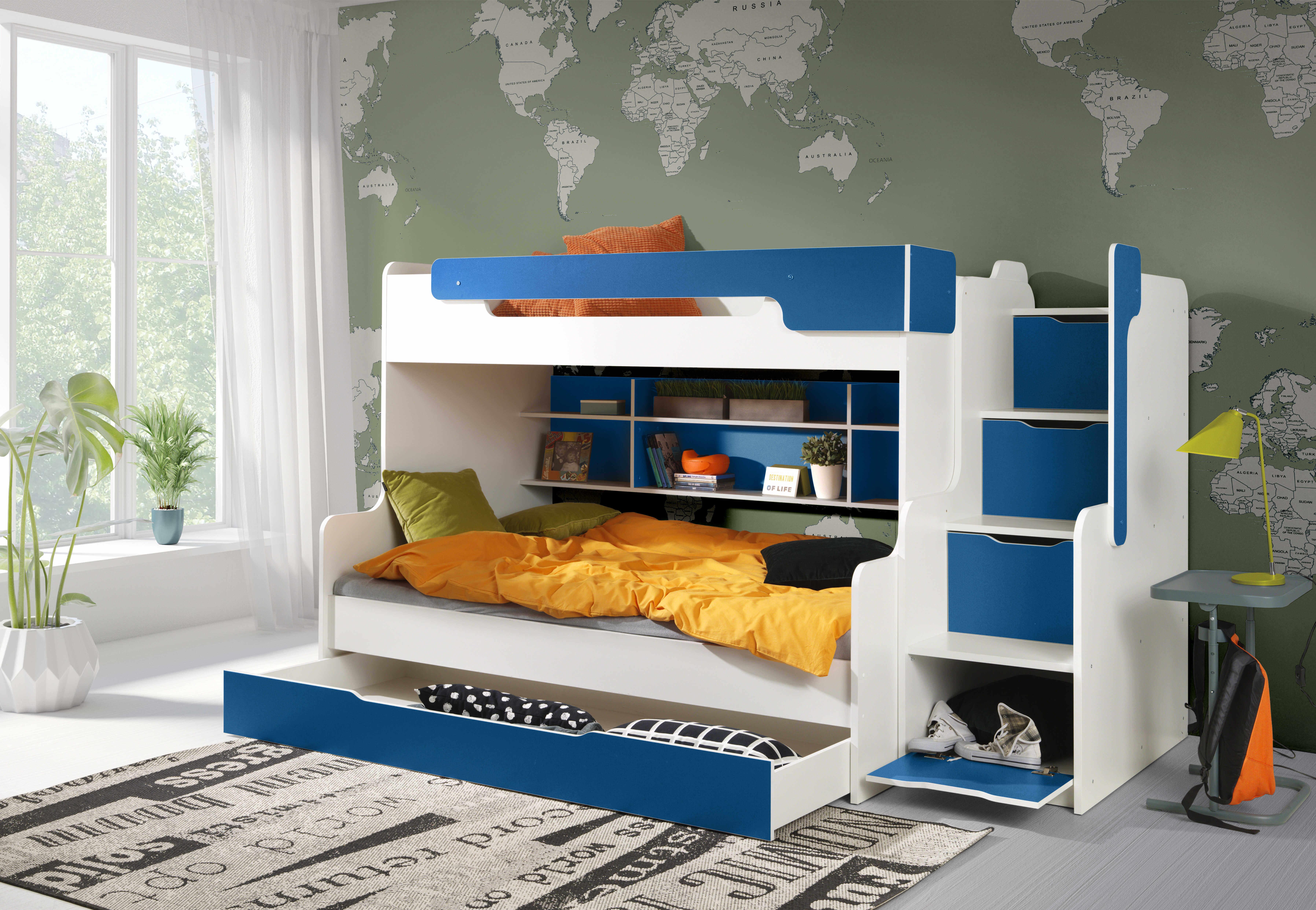 ArtBed Detská poschodová posteľ Harry Farba: biela/modrá