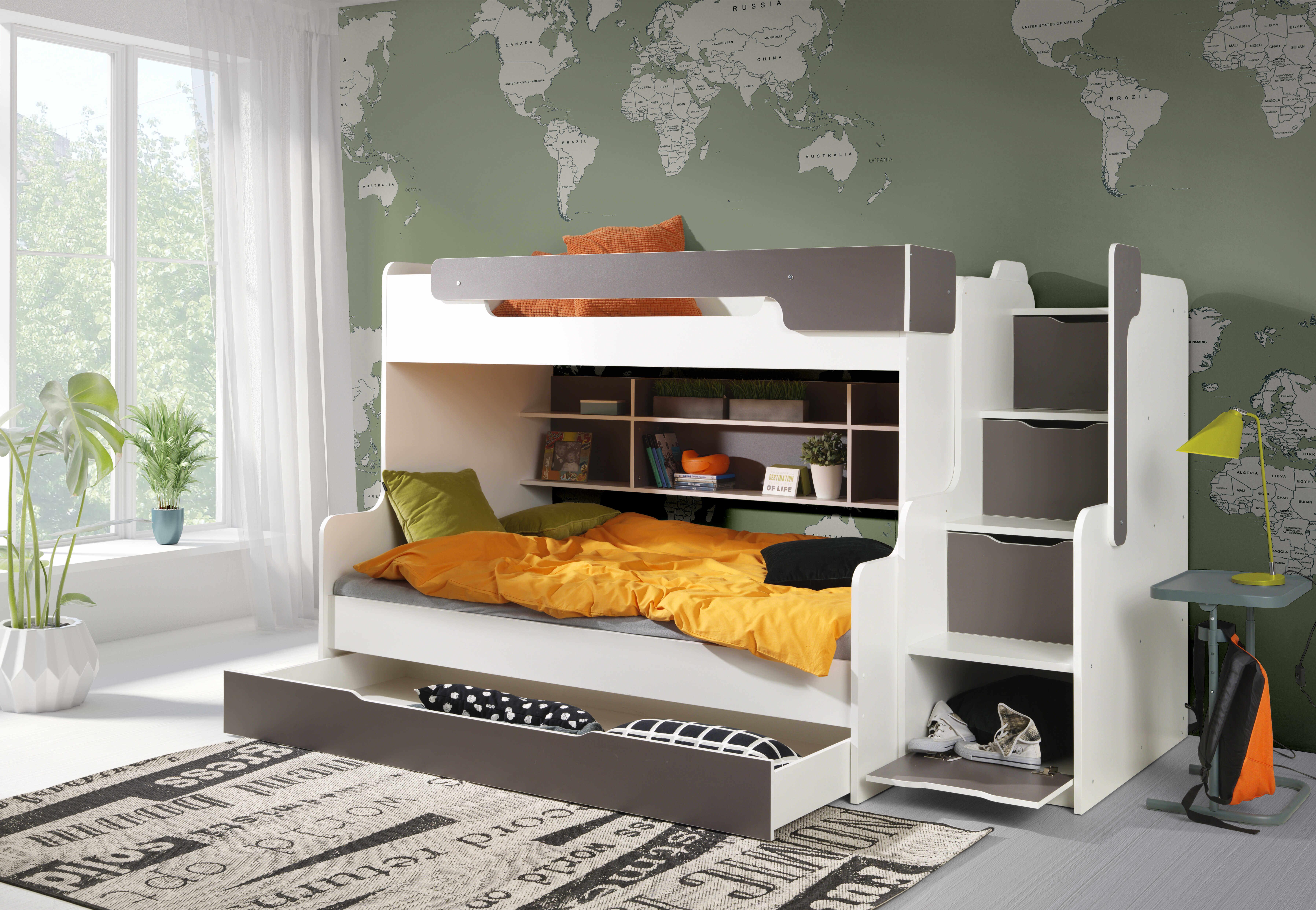 ArtBed Detská poschodová posteľ Harry Farba: Biela/sivá