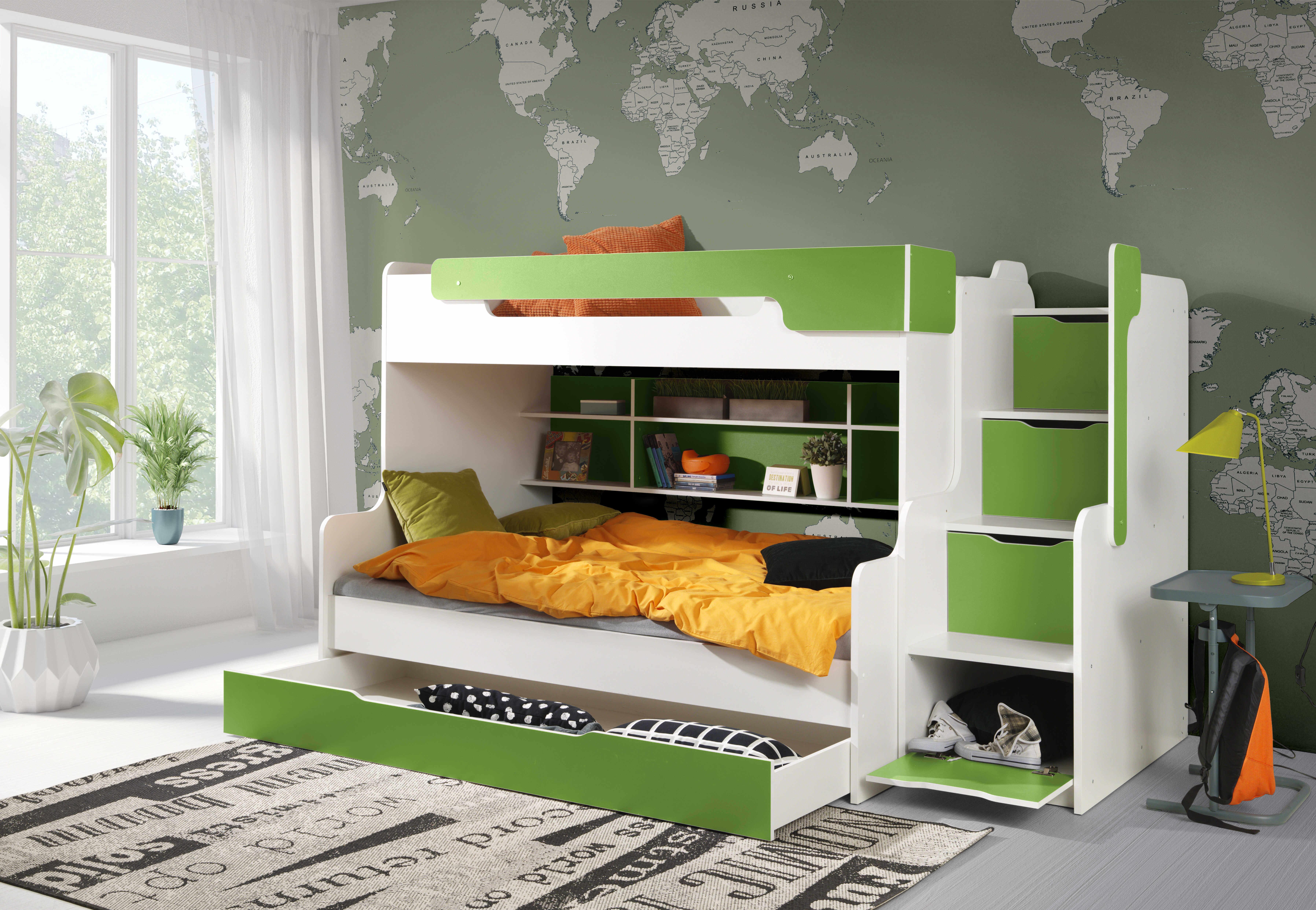 ArtBed Detská poschodová posteľ Harry Farba: Biela/oranžová