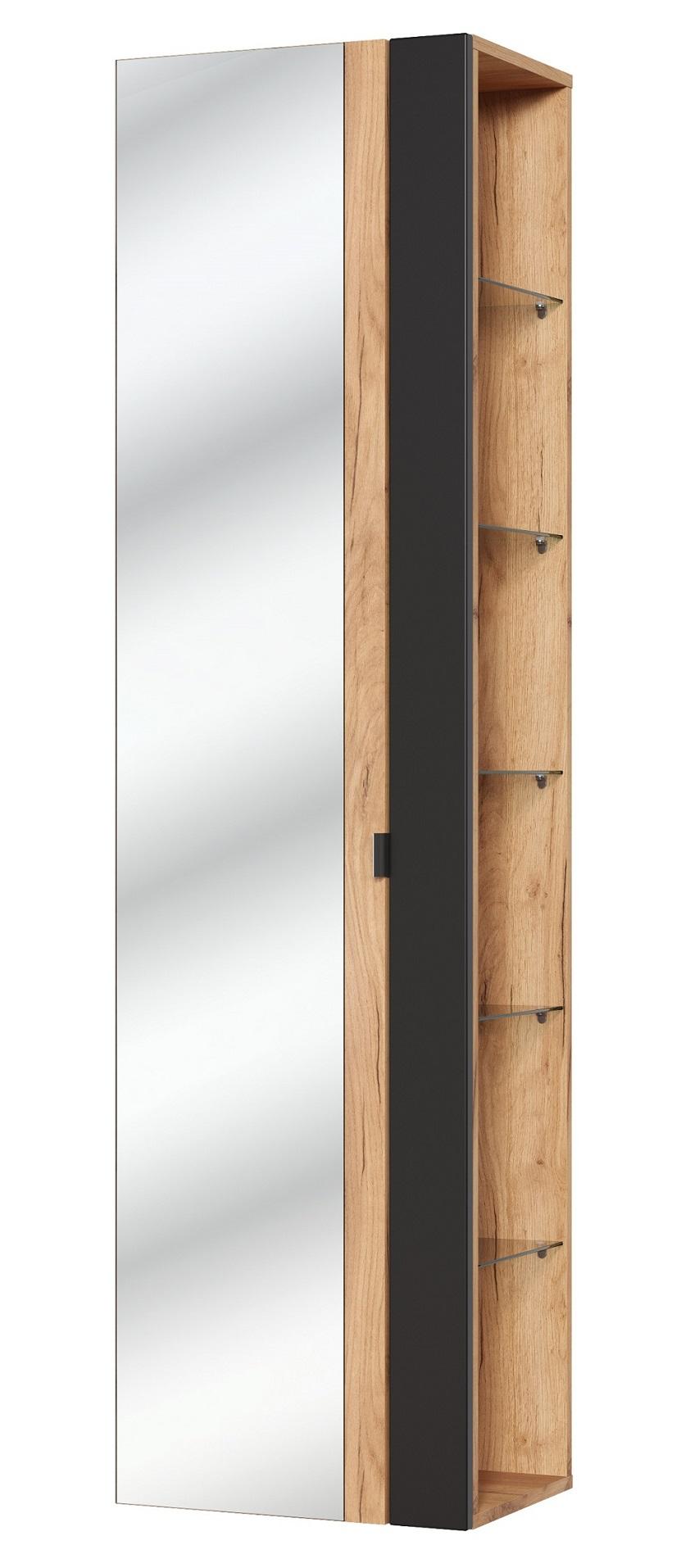 ArtCom Kúpeľňová zostava Capri Cosmos   čierny mat Capri Cosmos   čierny mat: Vysoká skrinka so zrkadlom 803