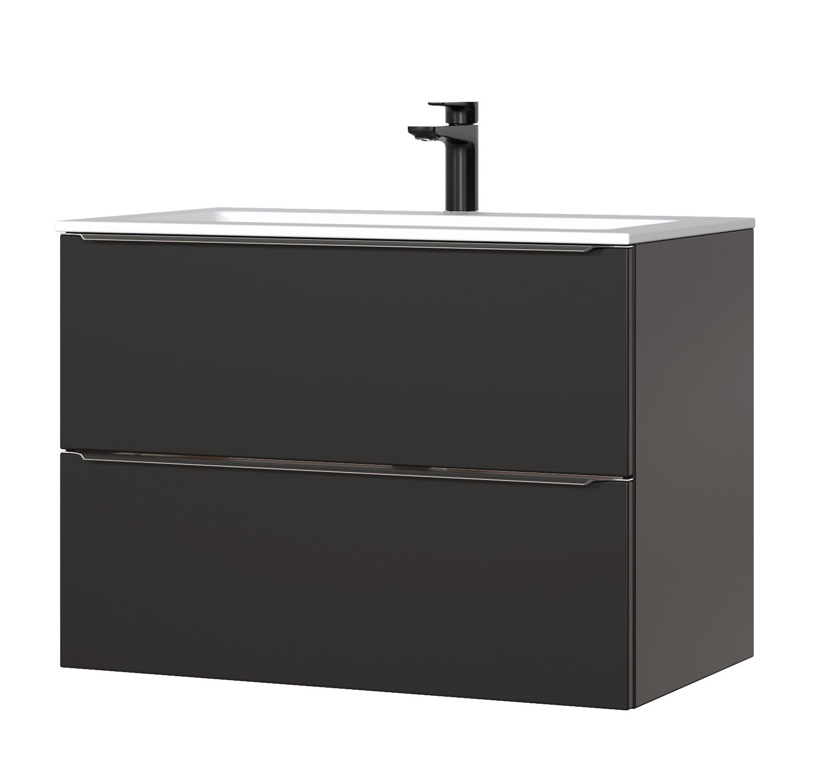 ArtCom Kúpeľňová zostava Capri Cosmos | čierny mat Capri Cosmos | čierny mat: Skrinka pod umývadlo 821 - 80 cm