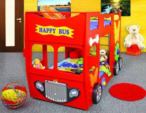 Artplast Detská poschodová posteľ Happy Bus červený