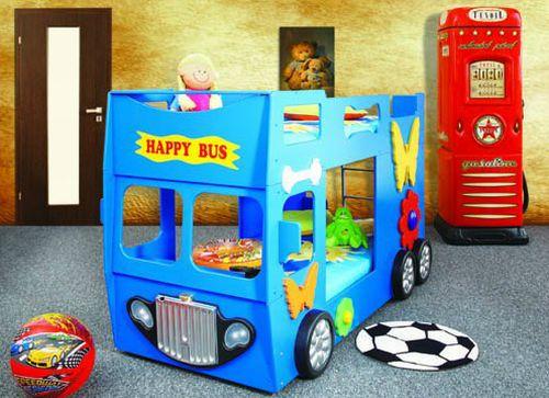 Artplast Detská poschodová posteľ Happy Bus modrý